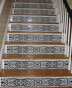 Painted Black U0026 White Stair Risers. Custom Patterns And Stencils For  Etching, Faux Painting