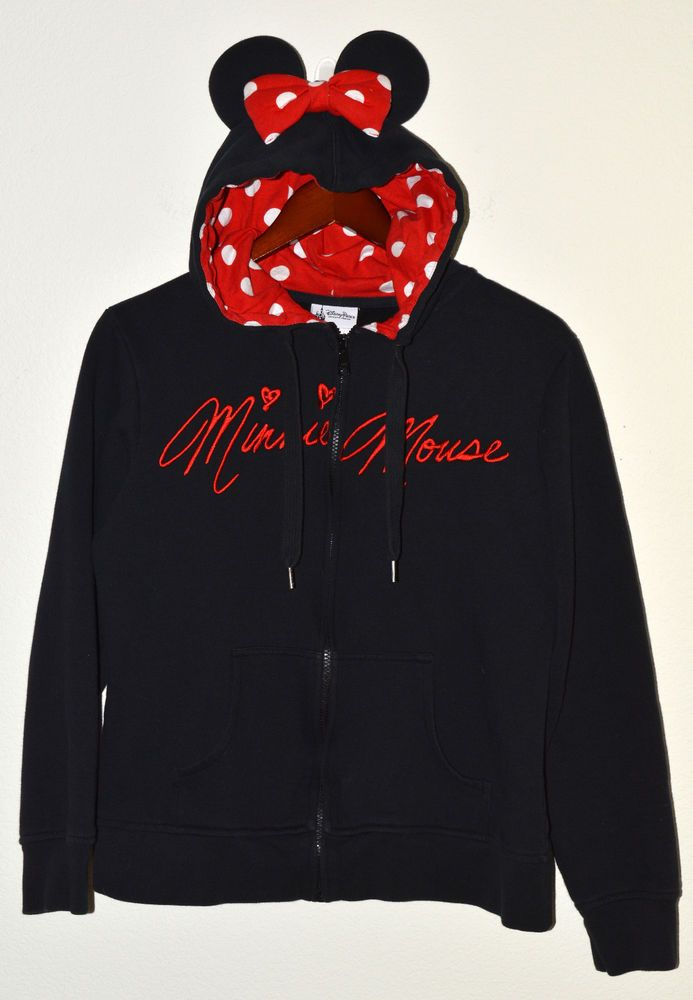 Disney Parks Authentic Minnie Mouse Hoodie With Ears Zip Up Womens
