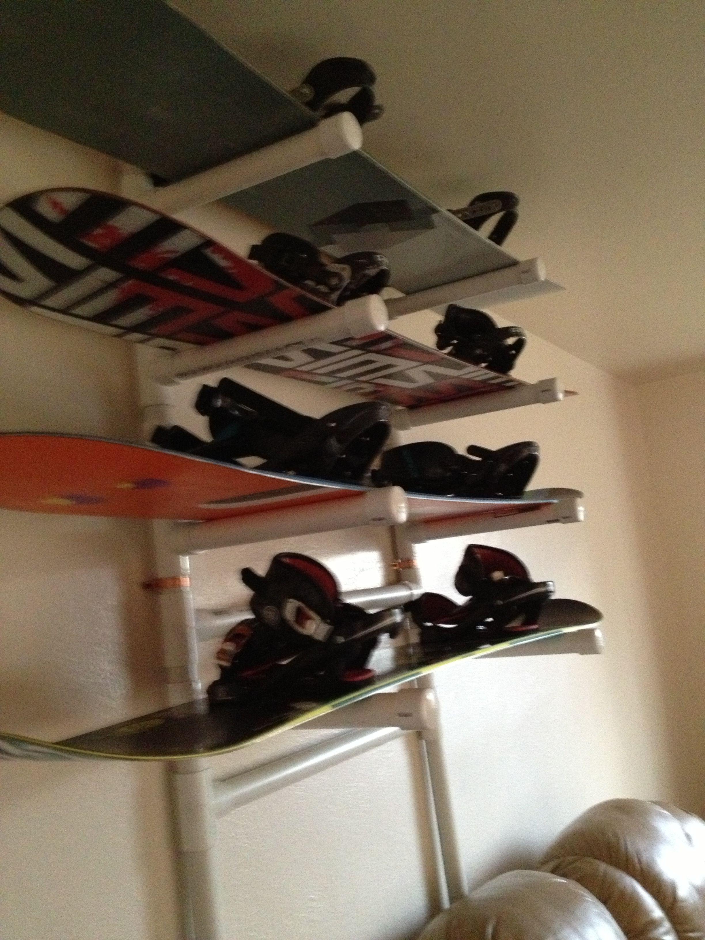 homemade snowboard rack snowboard garage organisation sports storage home organization. Black Bedroom Furniture Sets. Home Design Ideas
