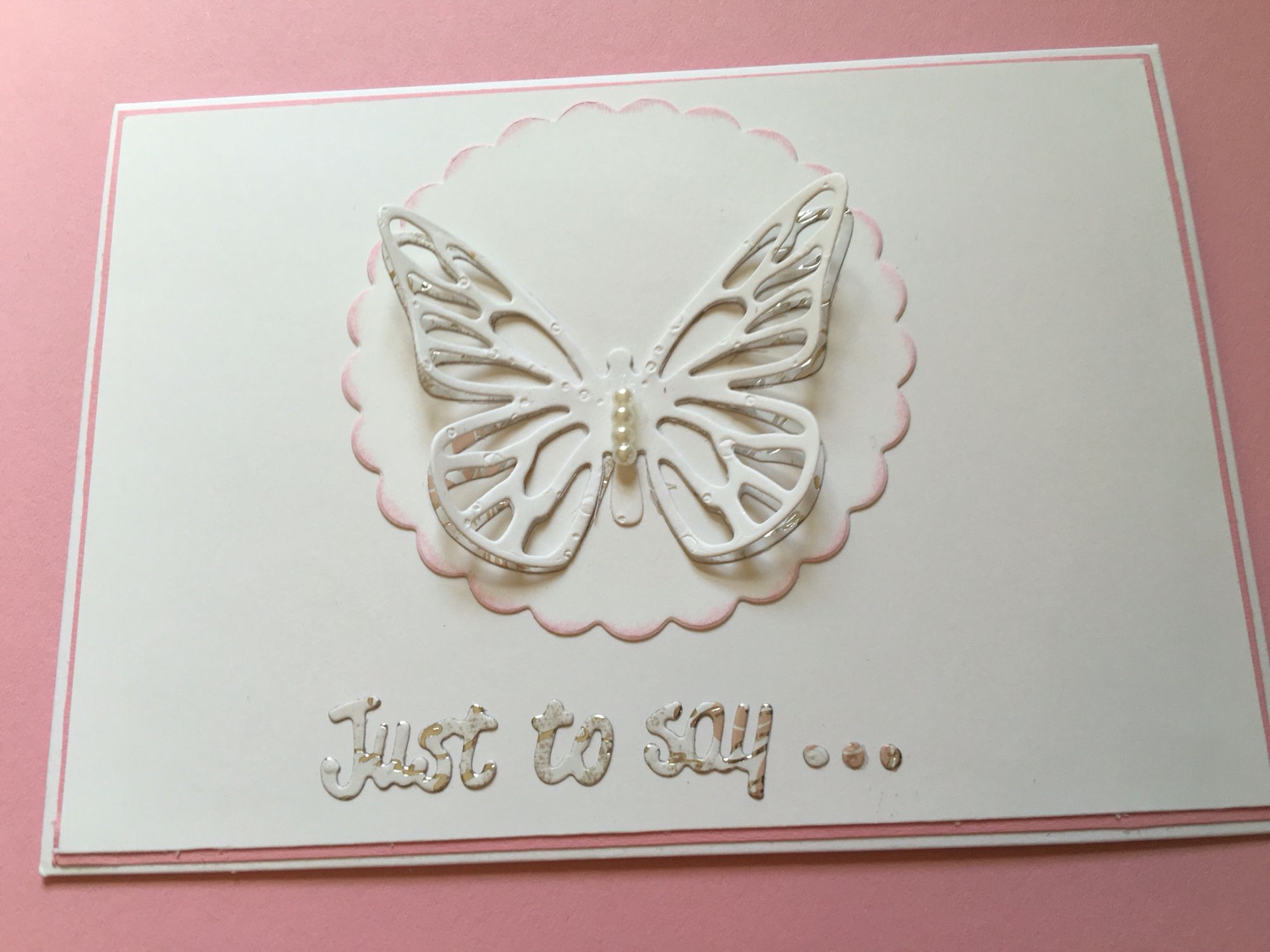 Simple Greeting Card With Double Butterfly Pearl Embellishment