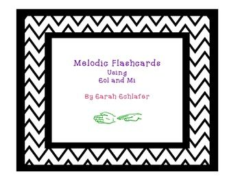 """These flashcards use ta and ti-ti with sol mi patterns.  There are three """"sets"""":1st both rhythms and melodic names are written melodically 2nd rhythms are written straight across and melodic names are written melodically3rd rhythms and melodic names are written straight across."""