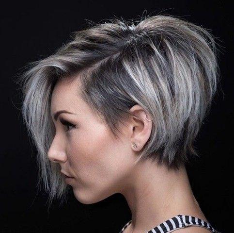 Grau Silber Pixie Haarschnitt Frisuren Frisuren Kurz