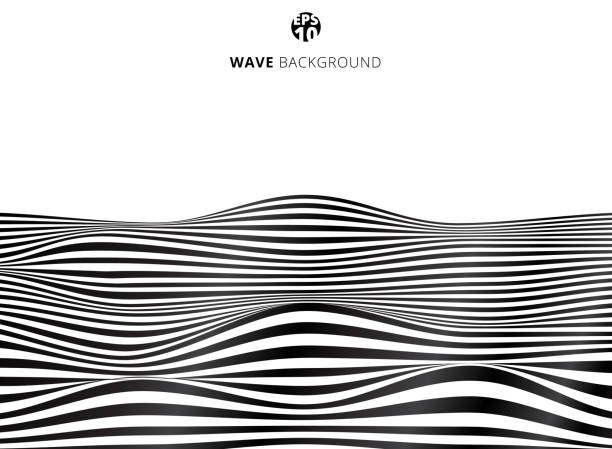 Abstract Black Lines Wave Wavy Stripes Pattern Rough Surface Stripes Pattern Free Vector Art Pattern