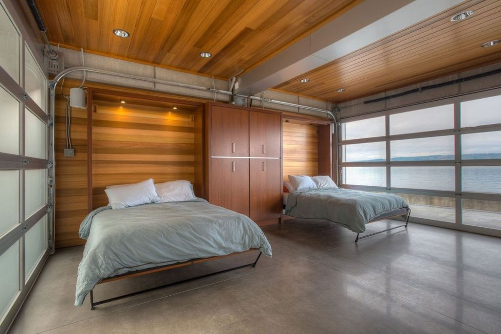 Contemporary Guest Bedroom With Urban Murphy Bed Bp Glass Garage