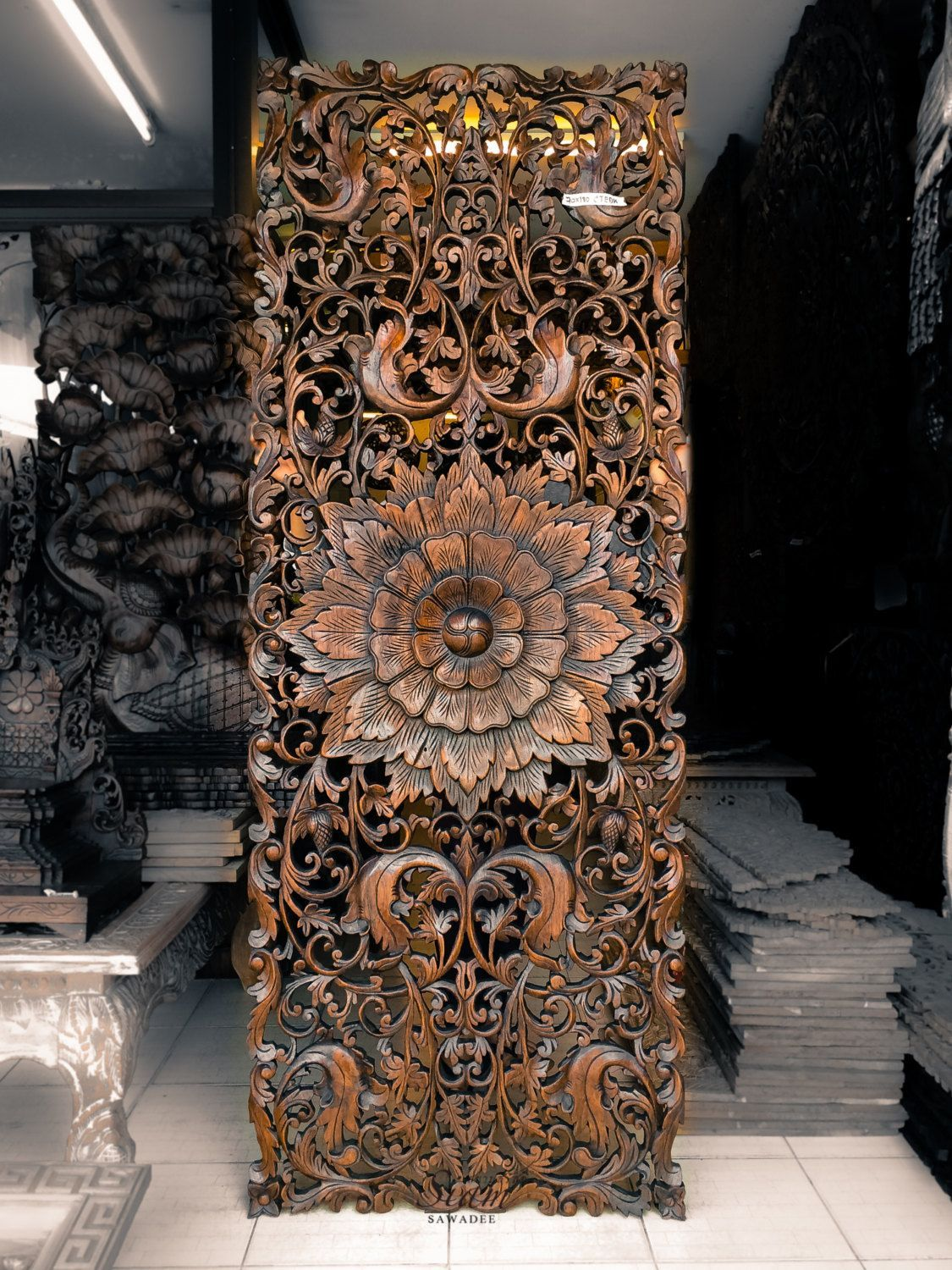 Teak wood carving wall sculpture panel perfect for bed headboard