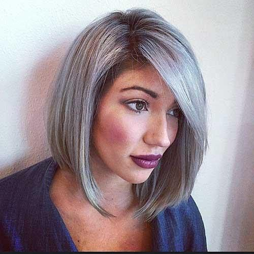 Grey Bob with Side Bangs grey hair trend | Grey Hair | Pinterest ...