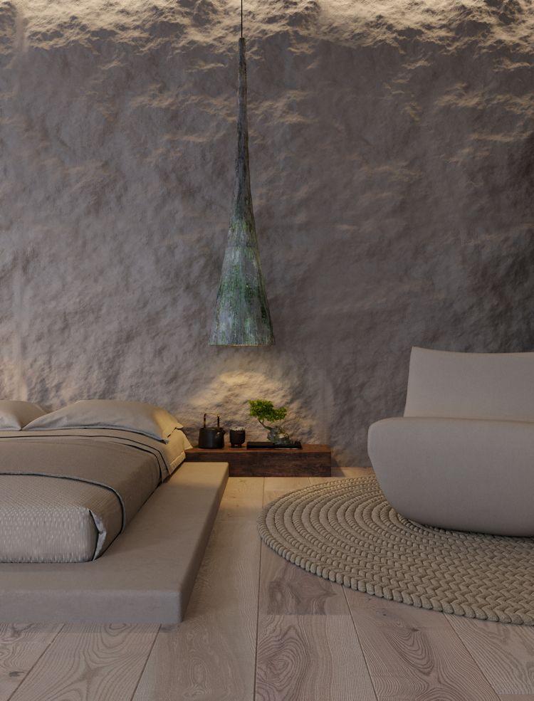 wabi sabi wohntrend doppelbett niedrig japanischer stil in ...