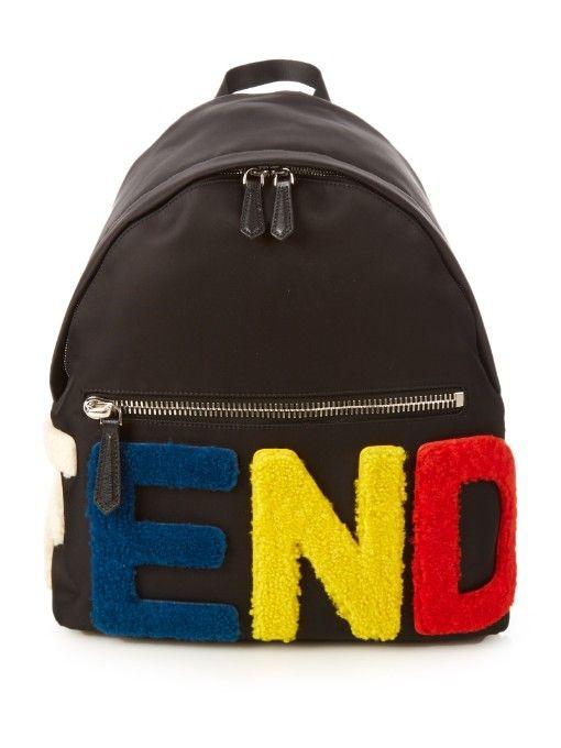 cf014e6a70 Fendi Furry logo nylon backpack
