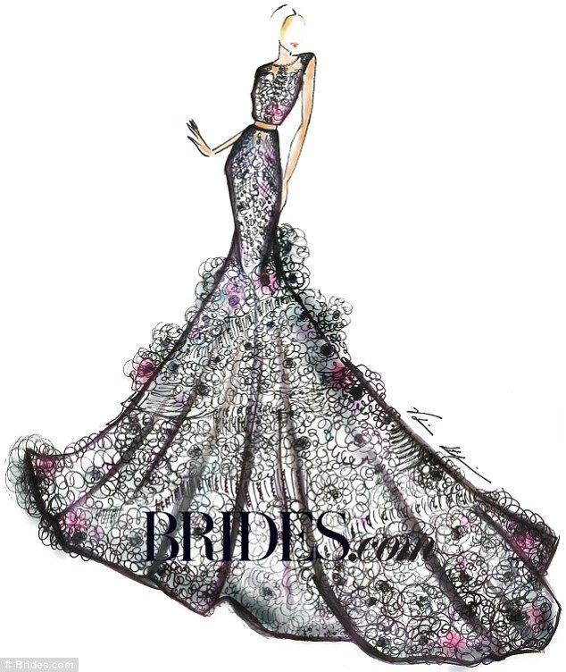Kim Kardashian\'s wedding gown? Bridal designers sketch her dress ...