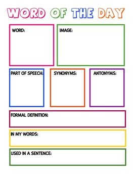 Vocabulary Worksheet:  Word Of The Day/Week