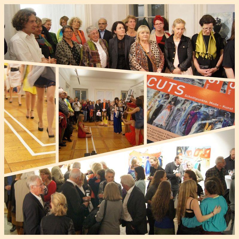"""Die Ausstellung """"Cuts"""" wurde mit einer Performance eröffnet. Die Organisation übernahmenStudierende der Universität Mozarteum unter der choreografischen Leitung von Ruth Burmann…"""