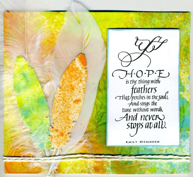 Quietfire Creation Hope I The Thing With Feather Coffee Filter Card Craft Yellow Cards Paraphrase Feathers