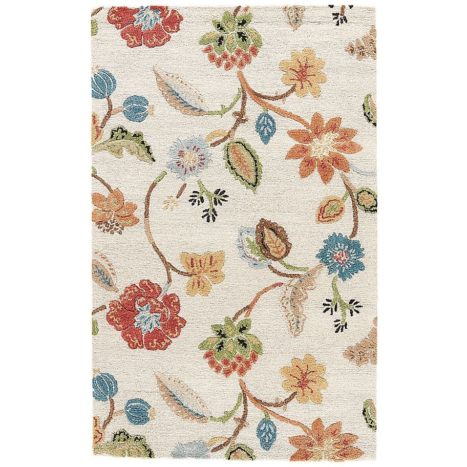 Jaipur Blue Collection Floral 6 Round Rug In Ivory Multi Ivory