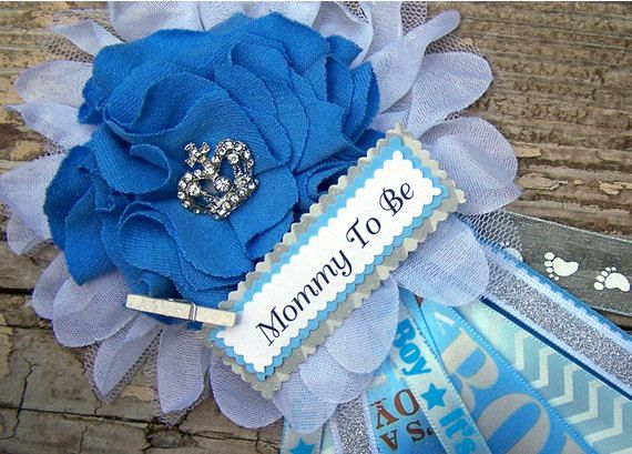Baby Shower Corsage For Mom ~ Prince baby shower corsage mom to be corsage blue baby shower