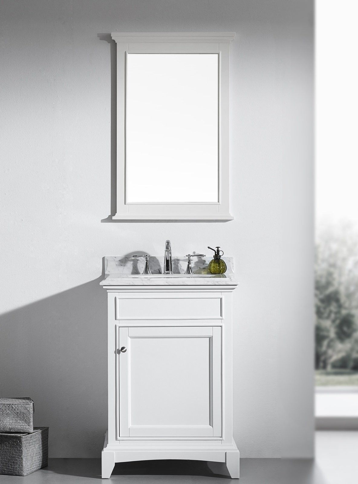 Eviva Elite Stamford 24 White Solid Wood Bathroom Vanity Set With Double Og Carrera Marble Top Undermount Porcelain Sink