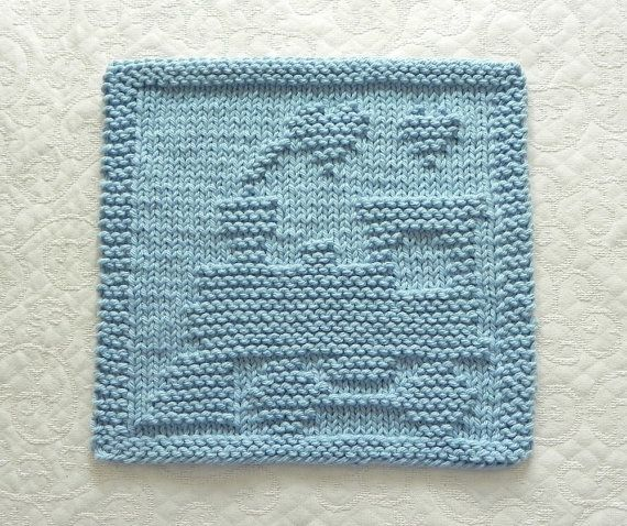 Blue Train Baby Wash Cloth Hand Knitted 100 By Auntsusanscloset