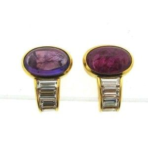 bulgari 18k yellow gold amethyst tourmaline diamond earrings bulgari