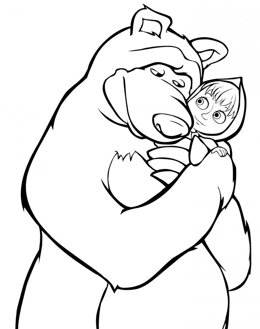 Маша и Медведь - раскраска №419 | Раскраски, Медведь, Рисунки