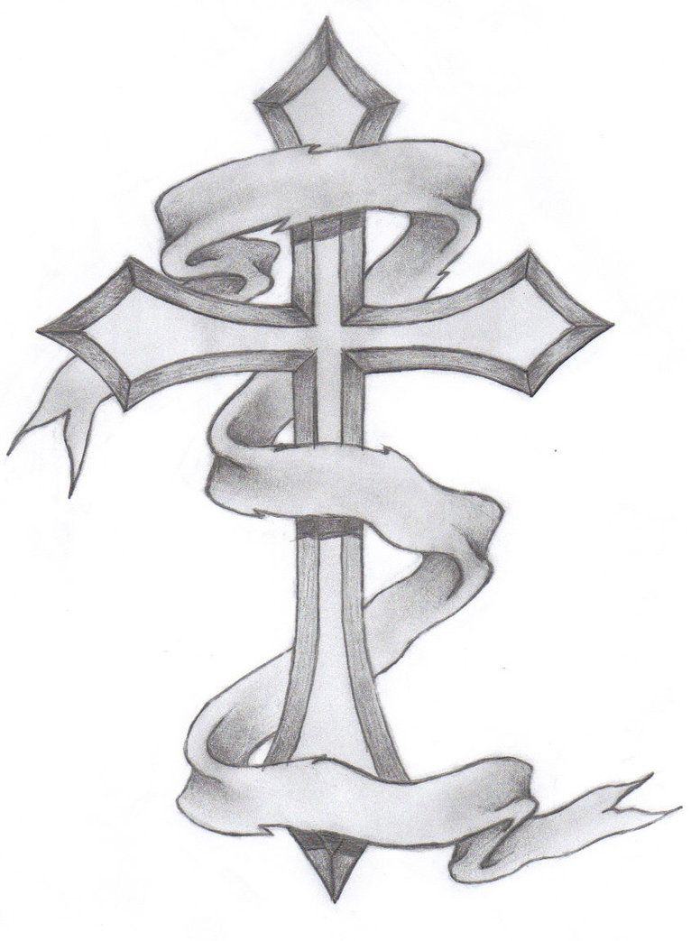 Tattoo Outlines Banner: Cross With Banner Tattoo Designs