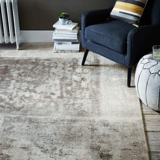 Distressed Rococo Wool Rug Platinum Rugs Floor Rugs Rugs In Living Room