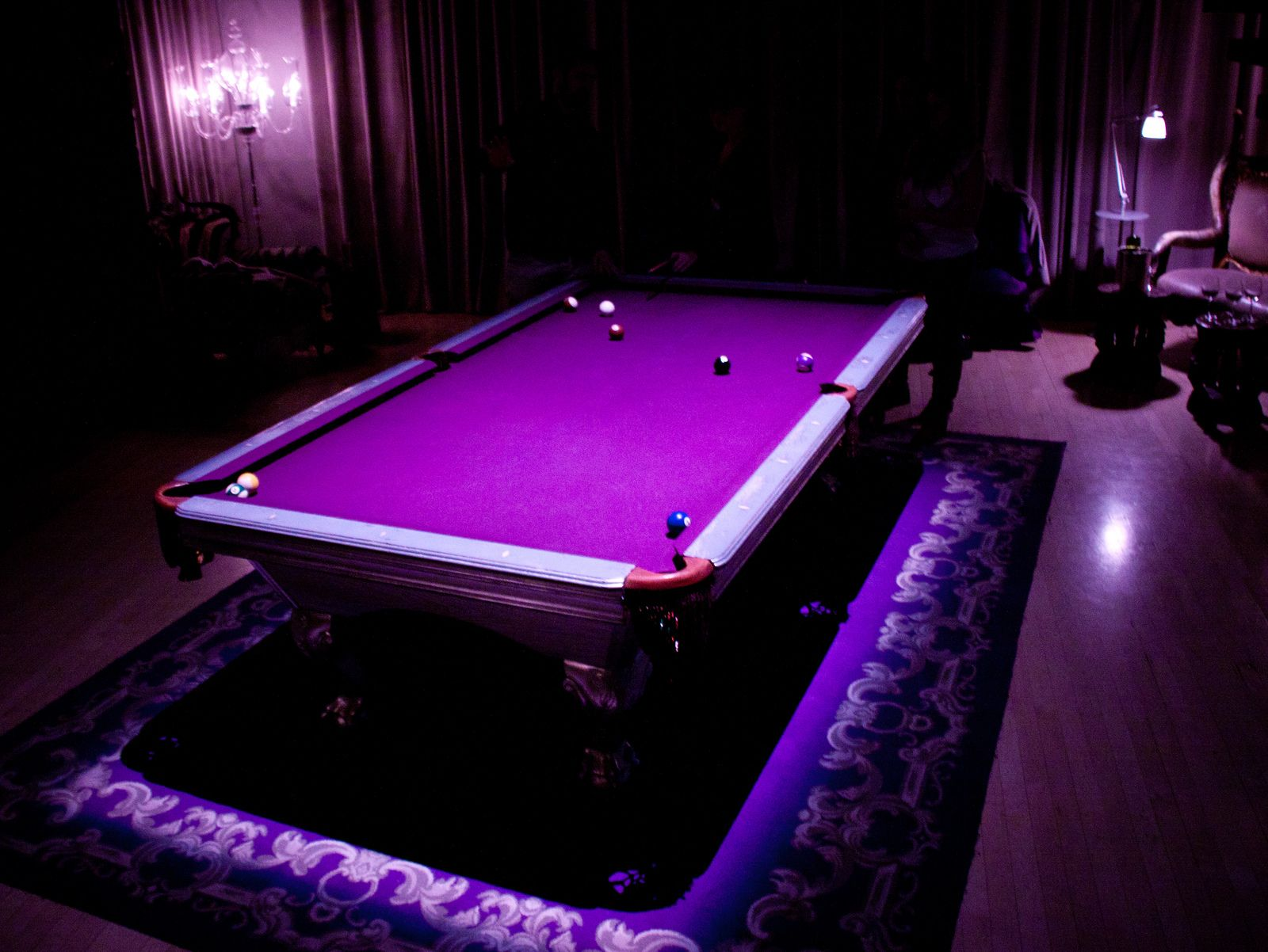 Purple Pool Table at The Purple Bar Sanderson Hotel