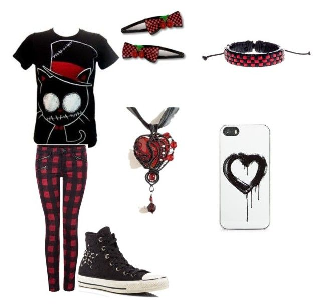 """red and black"" by alyssatc ❤ liked on Polyvore featuring Zero Gravity, Dex and Converse"