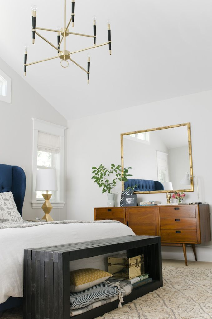 Emily Henderson Bedrooms Sherwin Williams Crushed Ice Target Brompton Tufted Wingback Velvet Bed Ripley Gold Lamp West Elm Linen C