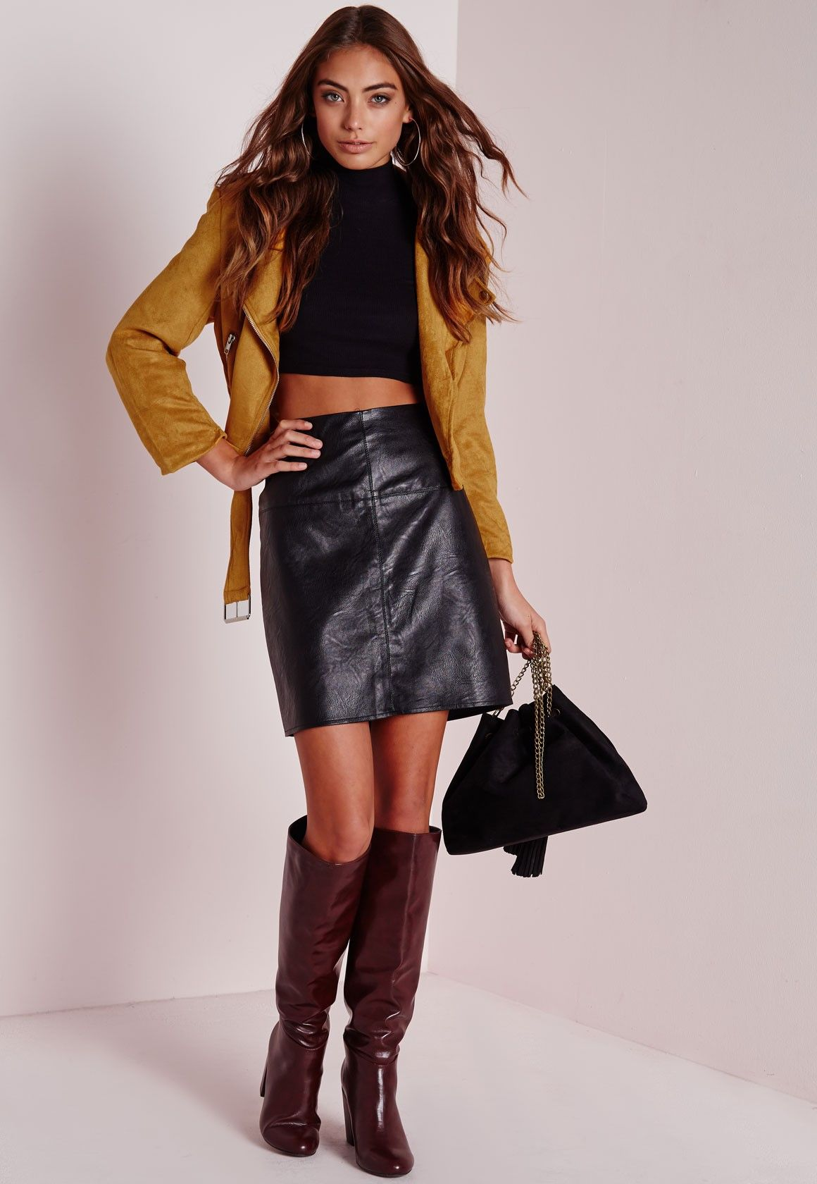 11a00bf75780b9 Vanessa Moe photoshoot for Missguided | leather skirt and pants ...