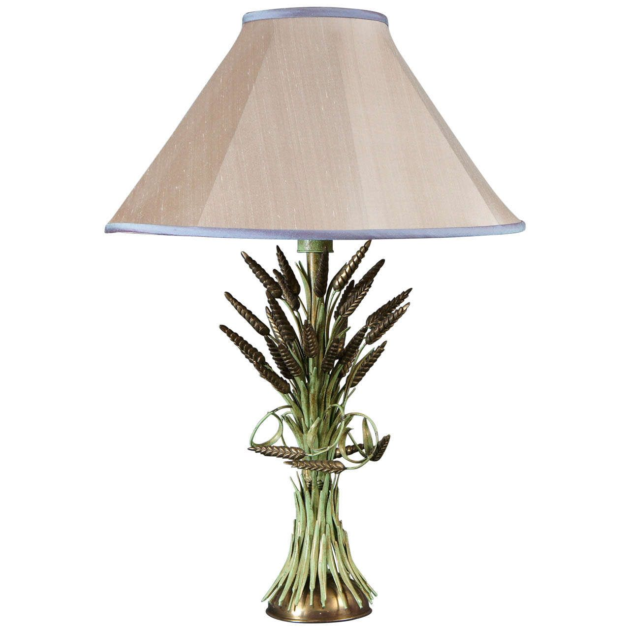 Single Brass And Green Painted Tole Wheat Sheaf Lamp In 2020 Lamp Table Lamp Wood French Table Lamp