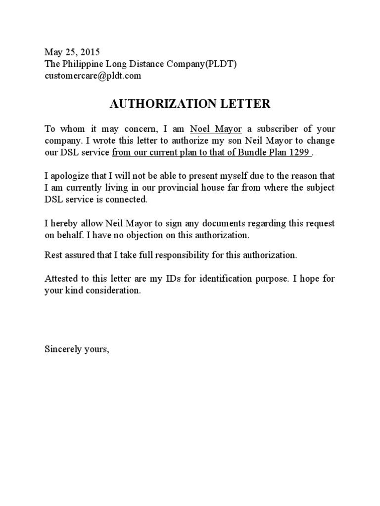 Pldt Authorization Letter Sample Bank Download Free Documents Pdf