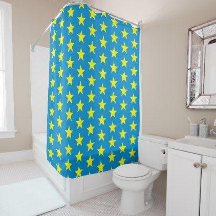 Sunshine Yellow Stars On Bright Blue Shower Curtain