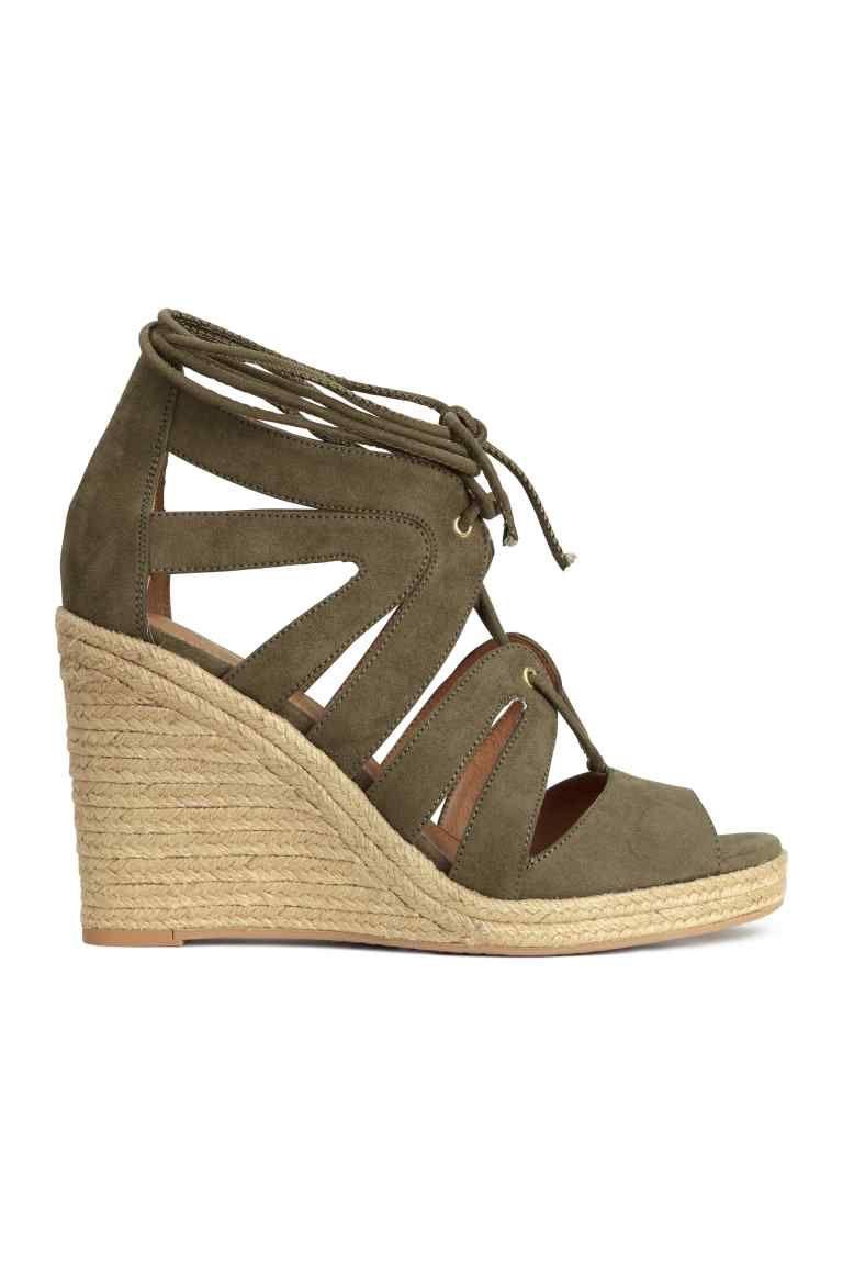 Sandales en cuir talon compensé Vert WBw7qzQzf