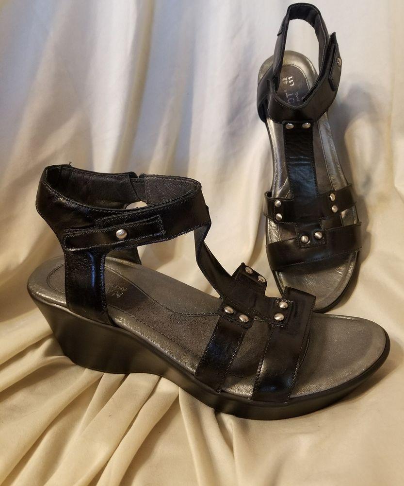 a01620f24a2c Naot Flirt sandals sz 42 EUR 11 US black leather t-strap wedge heels ankle  strap  Naot  AnkleStrap