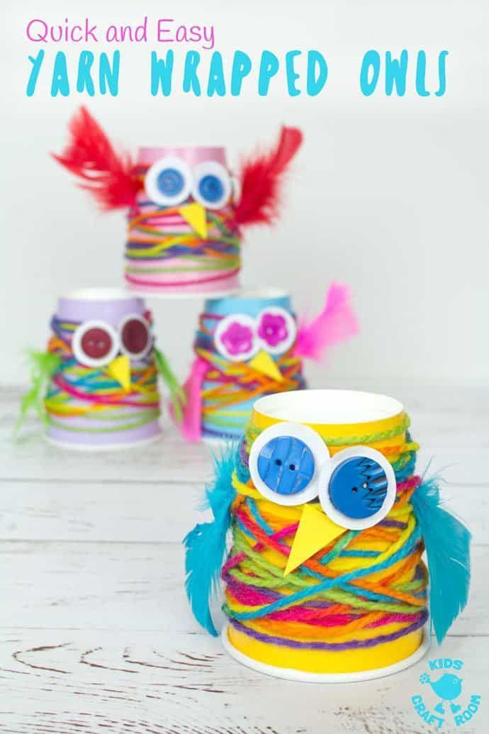 Paper Cup Yarn Wrapped Owls is part of Yarn crafts for kids - Want an easy preschool owl craft  These Yarn Wrapped Owls are a hoot! Cute, colourful, fun and great for fine motor skills