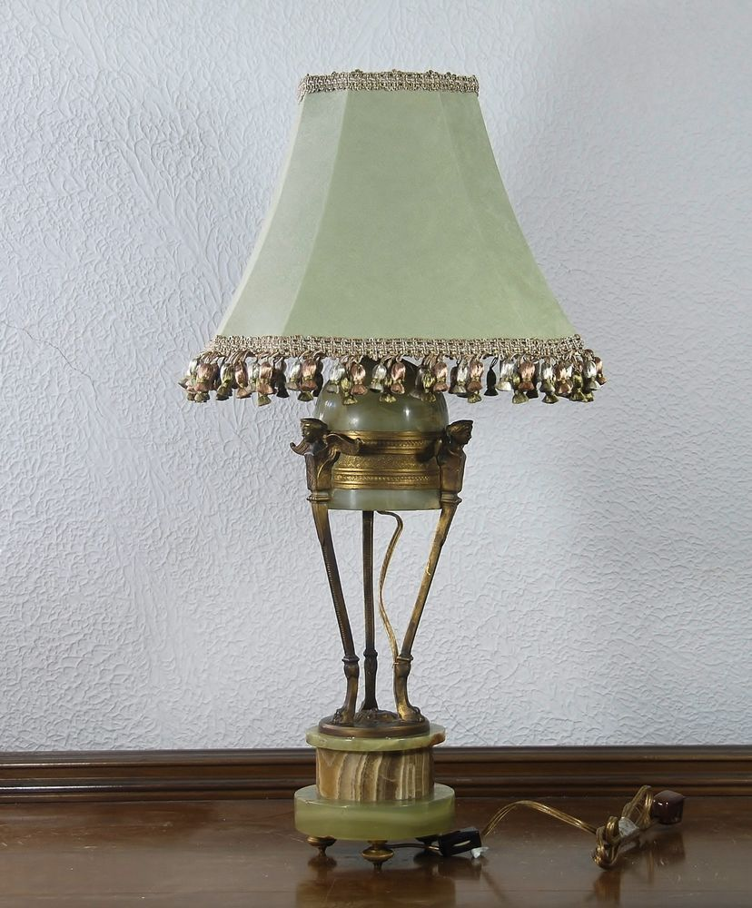 Pair Custom Made Fully Lined Green Velvet Lamp Shades With Tels And Trim Handmade Traditional