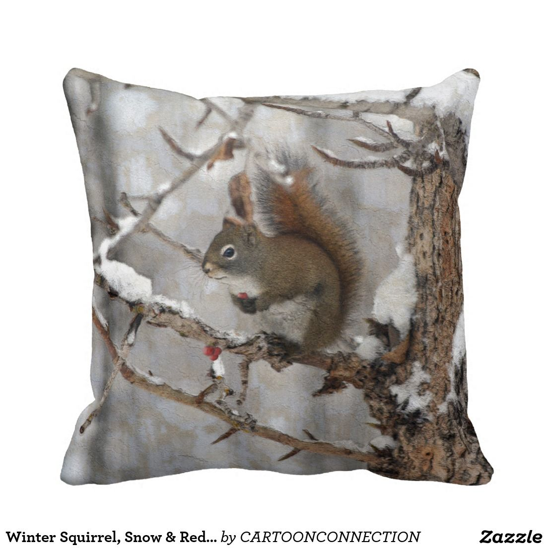 Winter Squirrel Snow u Red Berries Xmas Design Throw Pillow Red