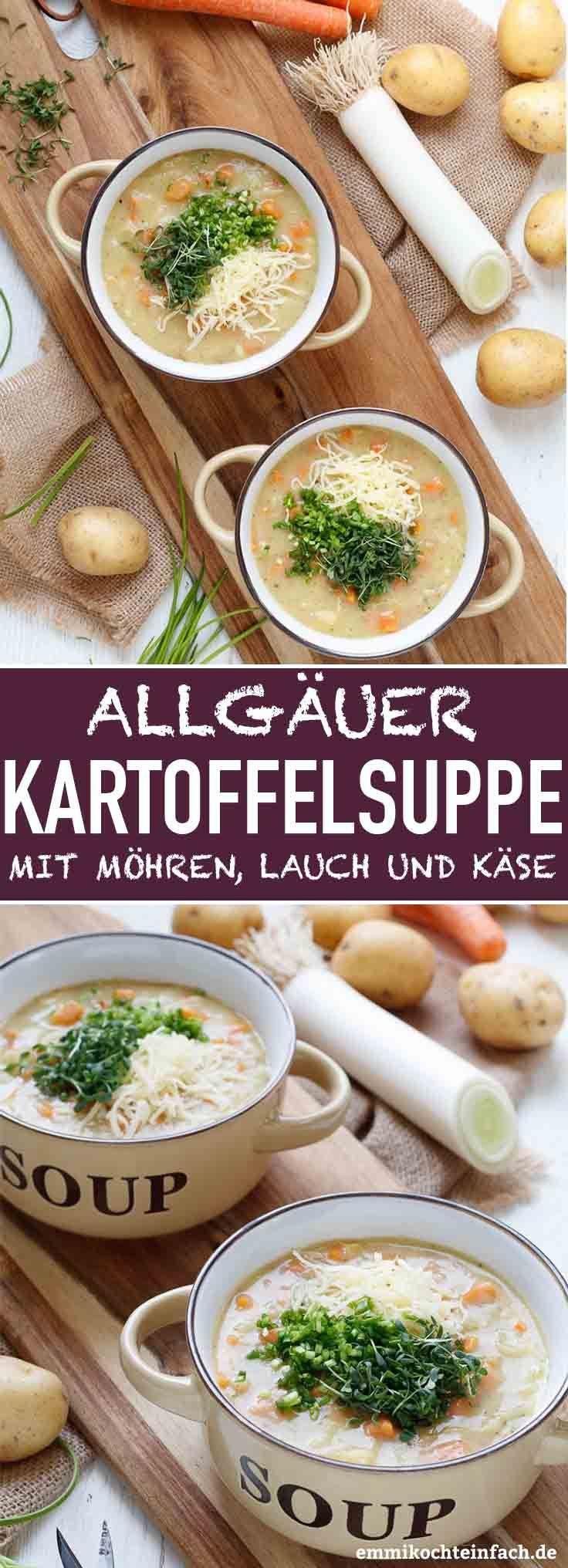 Allgäuer Kartoffelsuppe mit Möhren, Lauch & Emmentaler - emmikochteinfach