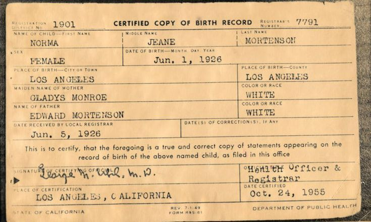 FileMarilyn Monroe Birth Certificate original Places to Visit - copy alameda county records birth certificate