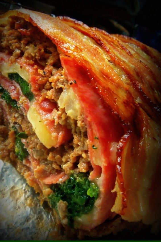 Rollos Essen rollo de carne con tocino bacon wrapped stuffed meatloaf rezepte