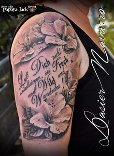 Oberarm schrift tattoo frau Tattoo Schrift