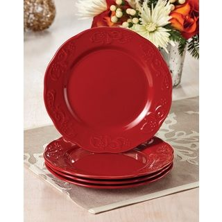 Paula Deen Signature Dinnerware Red Spiceberry Salad Plates (Set of 4)  sc 1 st  Pinterest : red plates set - pezcame.com