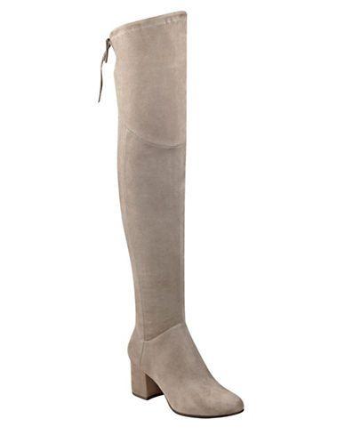 """<ul><li>Stylish over-the-knee boots crafted from rich suede</li> <li>Wrapped block heel, about 2""""</li> <li>Shaft, about 21""""</li> <li>Leg circumference, about 15""""</li> <li>Micro Suede upper</li> <li>Round toe</li> <li>Side zip closure</li> <li>Rear tie closure</li> <li>Synthetic lining</li> <li>Synthetic sole</li> <li>Padded insole</li> <li>Imported</li></ul>"""