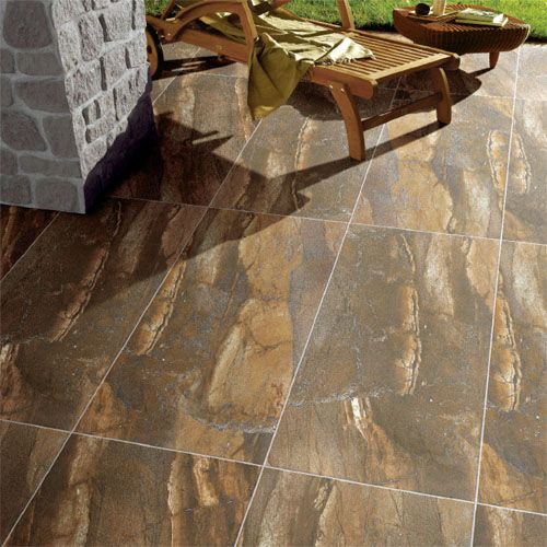 A Patio Featuring Porcel Thin 1200x600mm Granite Effect Ultra Porcelain Tiles From