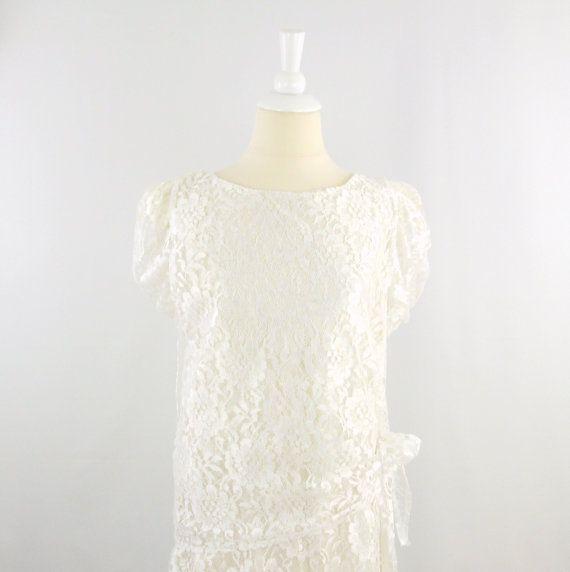b5ed1d7f0a6 On Sale Vintage White Lace Wedding Party Dress - 80s does 20s Gatsby Style  - Medium Large  etsy  weddings  handmade  vintagewedding  canadianmade   bridal   ...