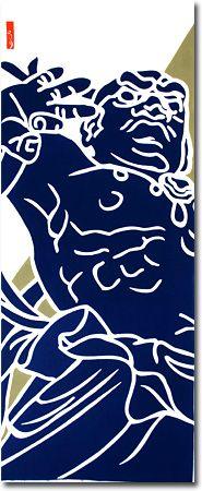 仁王像吽形 紺 大きい柄の手ぬぐい 飾る派 手ぬぐいの朱鳥 あけみとり 株式会社なら町長屋 像 イラスト 仁王 像