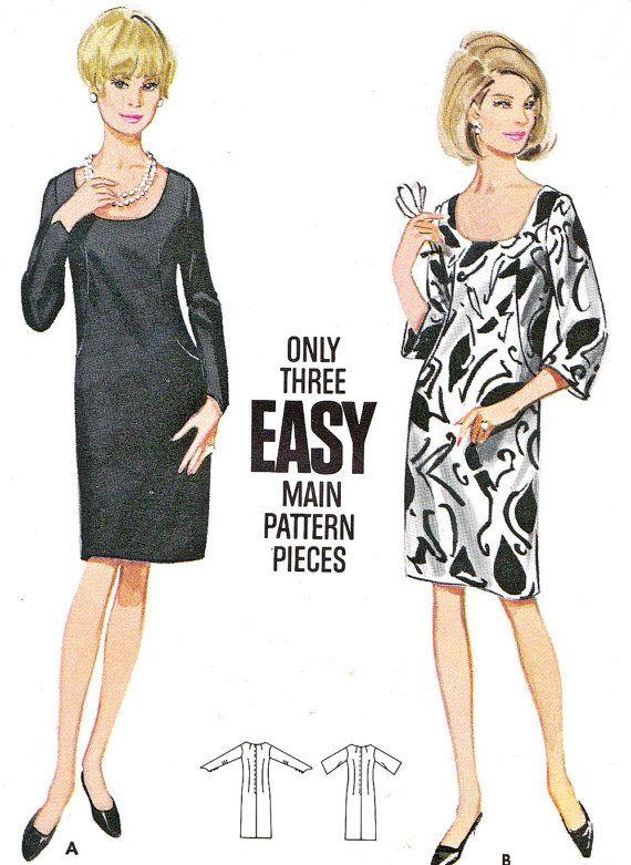 1960s dress pattern butterick 4515 scoop neck princess