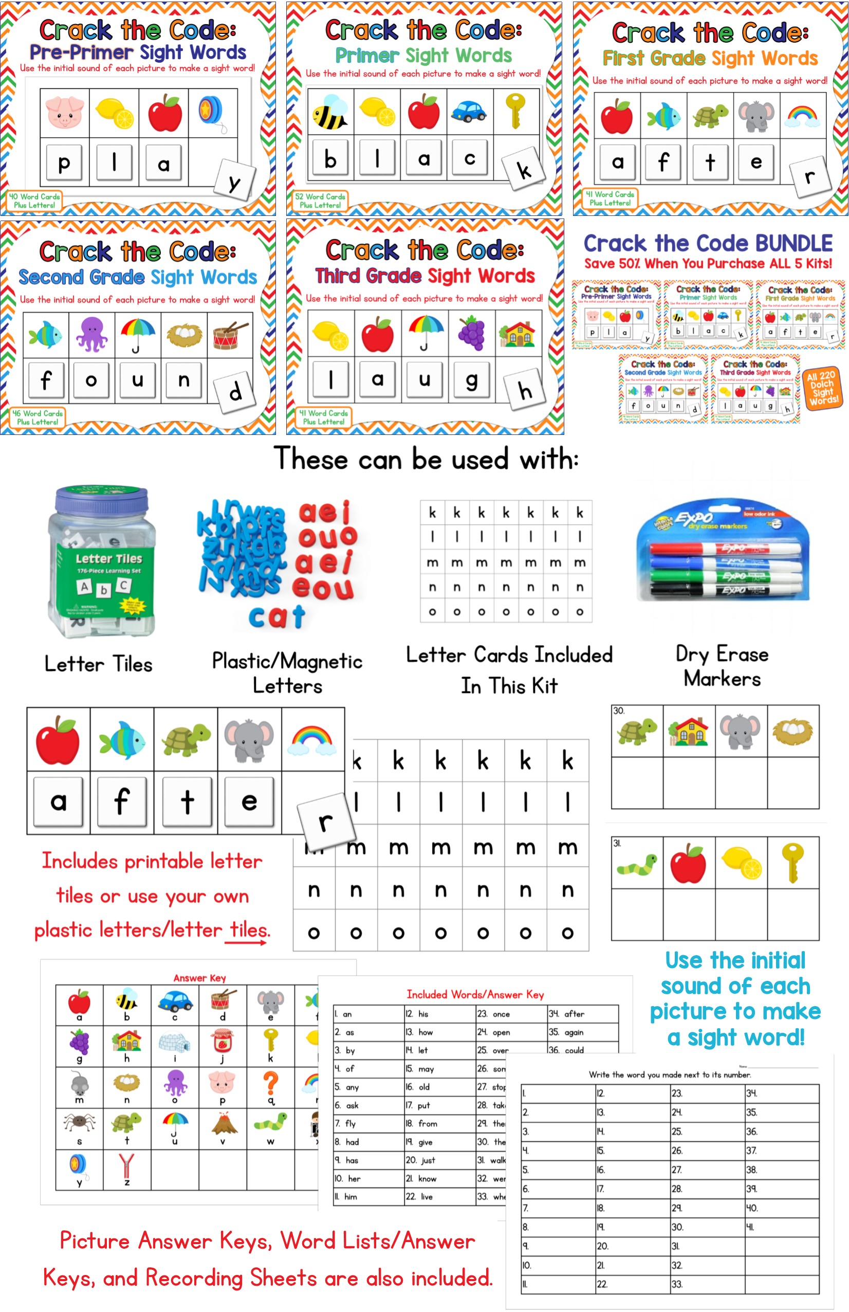 Crack The Code Dolch Sight Words Bundle Use Initial Sounds To Crack The Code