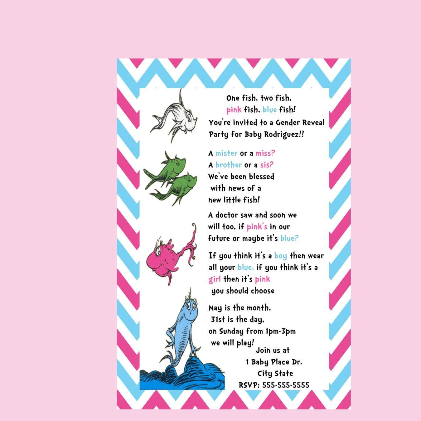 Dr seuss gender reveal invitation one fish two fish for One fish two fish printable