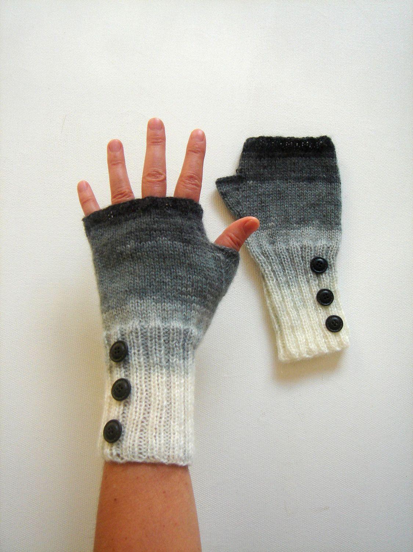 Dark Grey Arm Warmer Knitting Fingerless Gloves / Batik colors ...