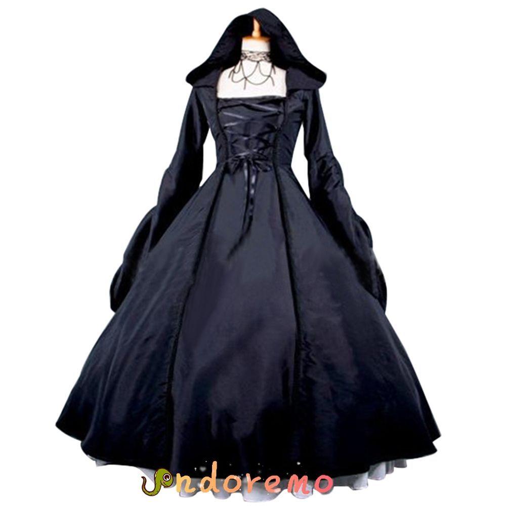 Black Gothic Lolita Dress Medieval Renaissance Victorian Ball Gown ...